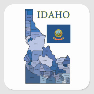 Flag and Map of Idaho Square Sticker