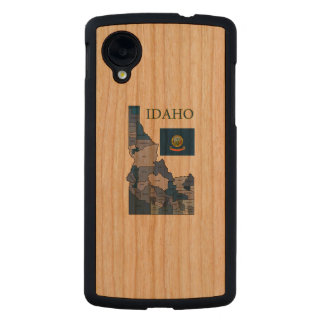 Flag and Map of Idaho Carved® Cherry Nexus 5 Slim Case