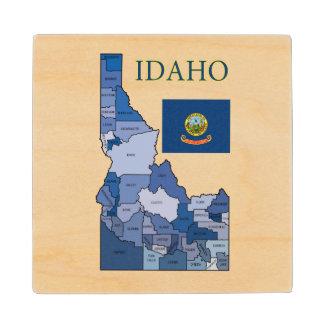 Flag and Map of Idaho Wood Coaster