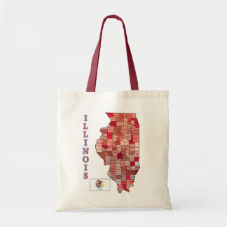 Flag and Map of Illinois Tote Bag