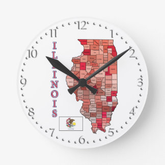 Flag and Map of Illinois Round Wallclocks