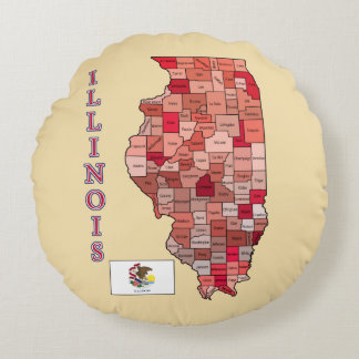 Flag and Map of Illinois Round Pillow