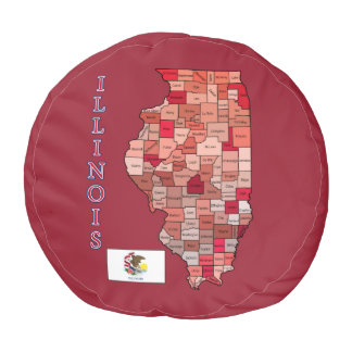 Flag and Map of Illinois Round Pouf