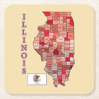 Flag and Map of Illinois Square Paper Coaster
