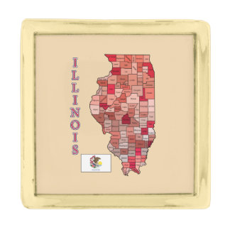Flag and Map of Illinois Gold Finish Lapel Pin
