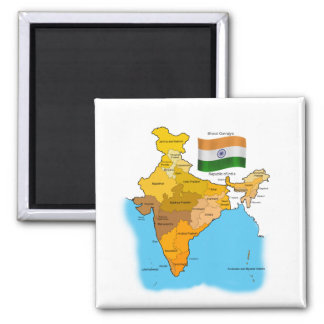 Flag and Map of India 2 Inch Square Magnet