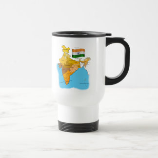Flag and Map of India Travel Mug