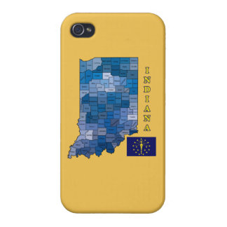 Flag and Map of Indiana Cases For iPhone 4