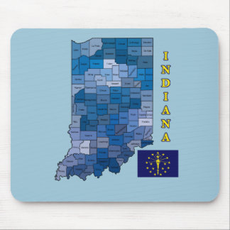 Flag and Map of Indiana Mouse Pad