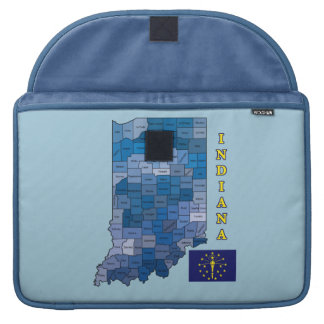 Flag and Map of Indiana Sleeve For MacBooks