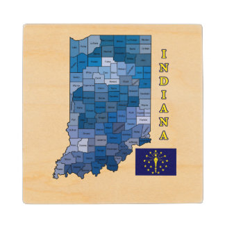 Flag and Map of Indiana Wood Coaster