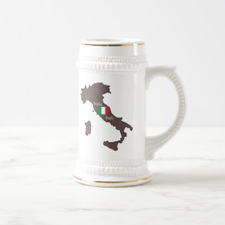 Flag and Map of Italy 18 Oz Beer Stein