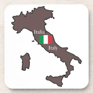 Flag and Map of Italy Beverage Coaster
