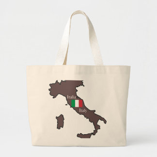 Flag and Map of Italy Large Tote Bag