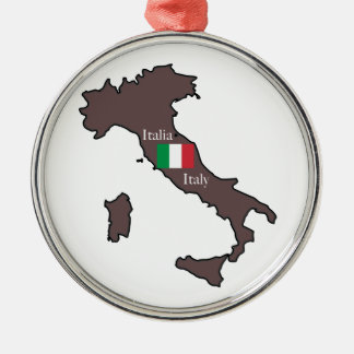 Flag and Map of Italy Metal Ornament