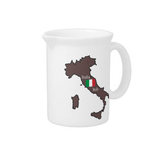 Flag and Map of Italy Pitchers