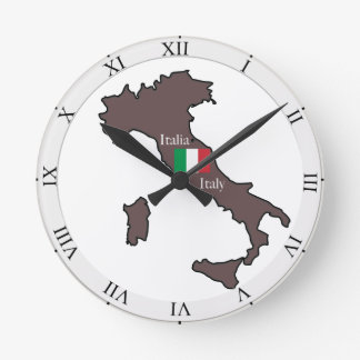 Flag and Map of Italy Round Clock