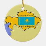 Flag and Map of Kazakhstan Christmas Tree Ornament