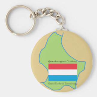 Flag and Map of Luxembourg Keychain