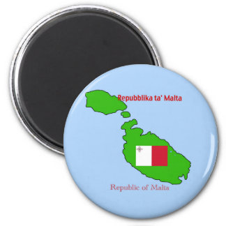 Flag and Map of Malta 2 Inch Round Magnet