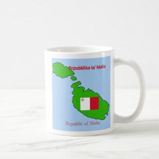 Flag and Map of Malta Classic White Coffee Mug