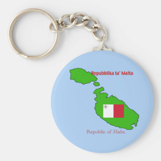 Flag and Map of Malta Keychain