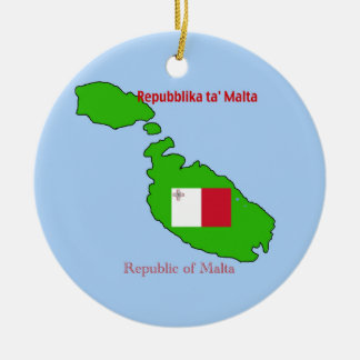 Flag and Map of Malta Christmas Tree Ornaments
