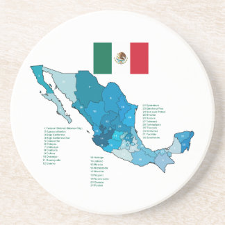Flag and Map of Mexico Drink Coaster