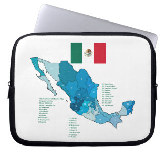 Flag and Map of Mexico Laptop Sleeve