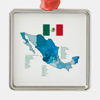 Flag and Map of Mexico Metal Ornament