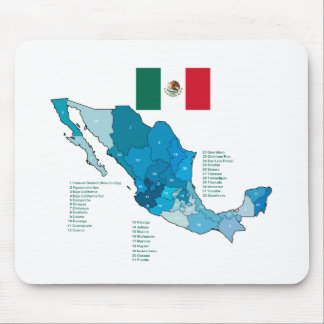 Flag and Map of Mexico Mouse Pad