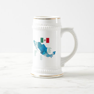 Flag and Map of Mexico 18 Oz Beer Stein