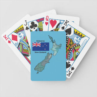 Flag and Map of New Zealand Bicycle Playing Cards