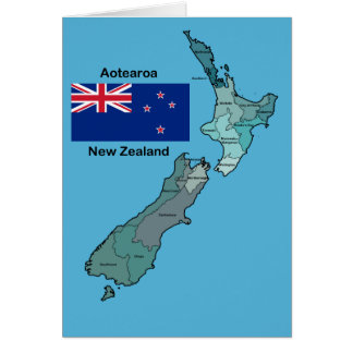 Flag and Map of New Zealand Card
