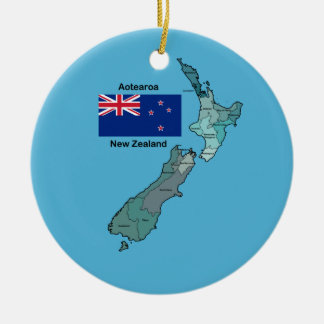 Flag and Map of New Zealand Double-Sided Ceramic Round Christmas Ornament