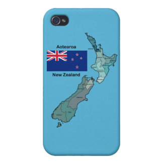 Flag and Map of New Zealand iPhone 4/4S Cover