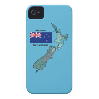 Flag and Map of New Zealand iPhone 4 Case