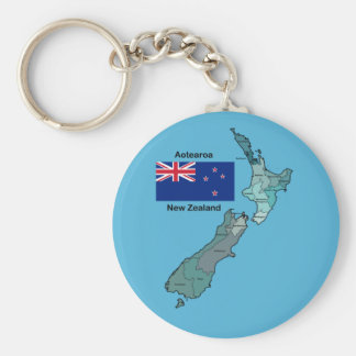 Flag and Map of New Zealand Keychain