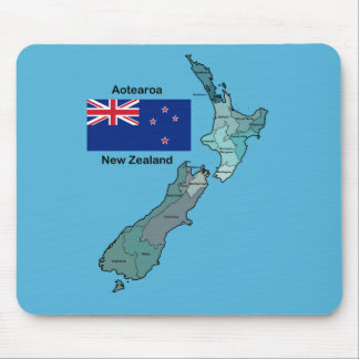 Flag and Map of New Zealand Mouse Pad