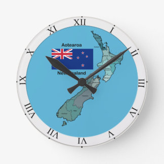 Flag and Map of New Zealand Round Clock