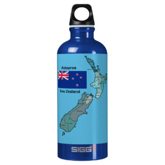 Flag and Map of New Zealand Water Bottle