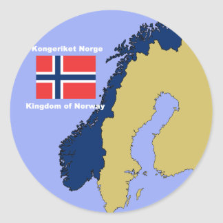 Flag and Map of Norway Classic Round Sticker