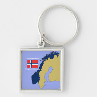 Flag and Map of Norway Keychain