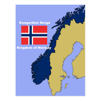 Flag and Map of Norway Postcard