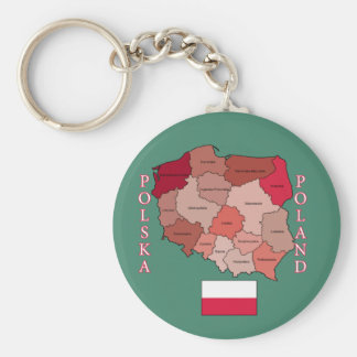 Flag and Map of Poland Keychain