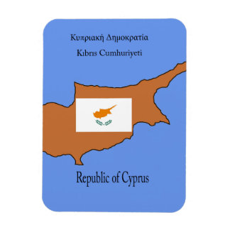 Flag and Map of Republic of Cyprus Rectangular Magnets