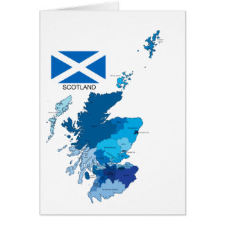Flag and Map of Scotland Card
