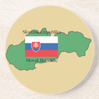 Flag and Map of Slovakia Drink Coaster