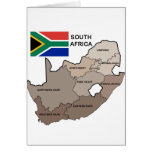 Flag and Map of South Africa Greeting Card