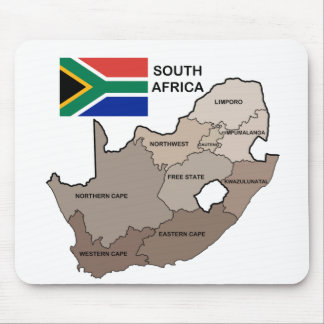 Flag and Map of South Africa Mouse Pads